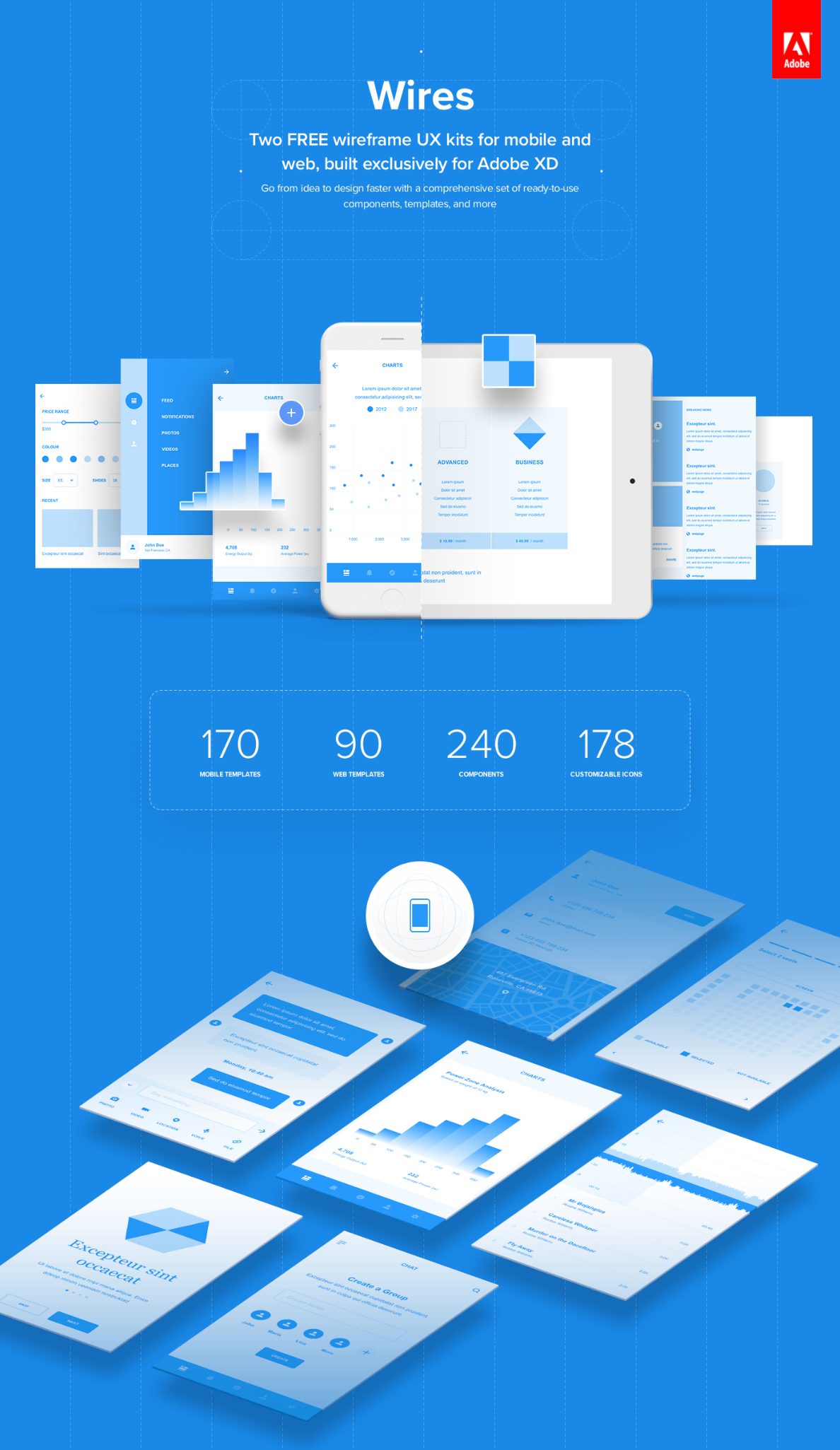 Free Wireframe kits for XD 5