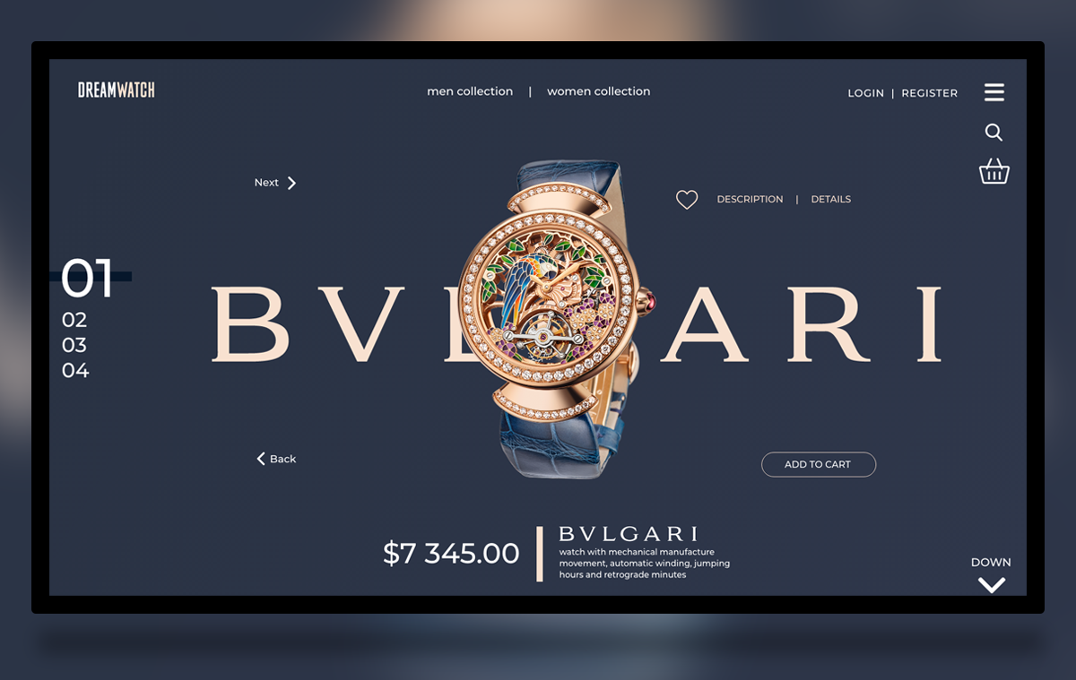 Bulgari shop free template adobe XD | FreeXD
