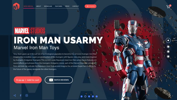 Iron man shop free template adobe XD | FreeXD