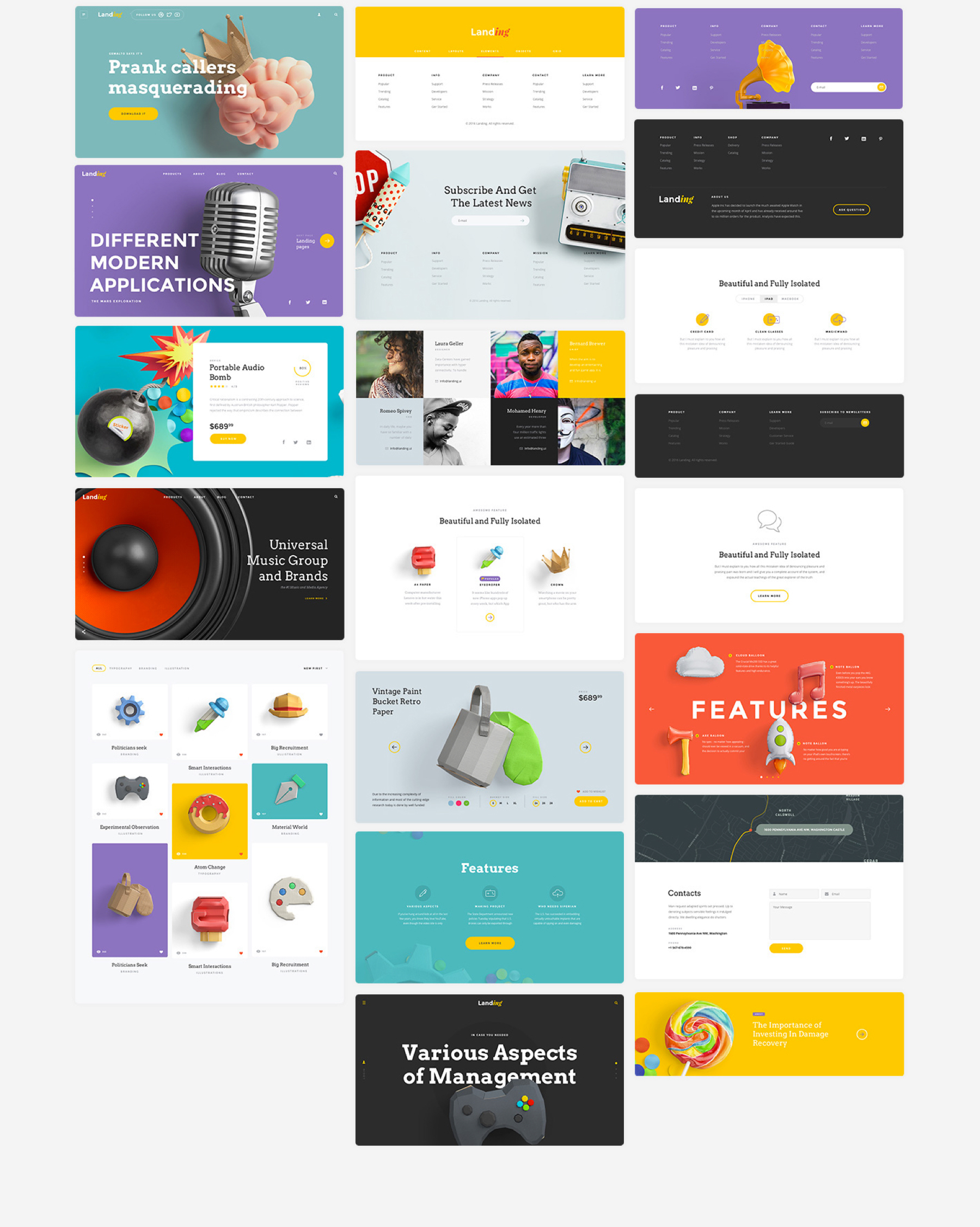 Free UI Kit for landing pages