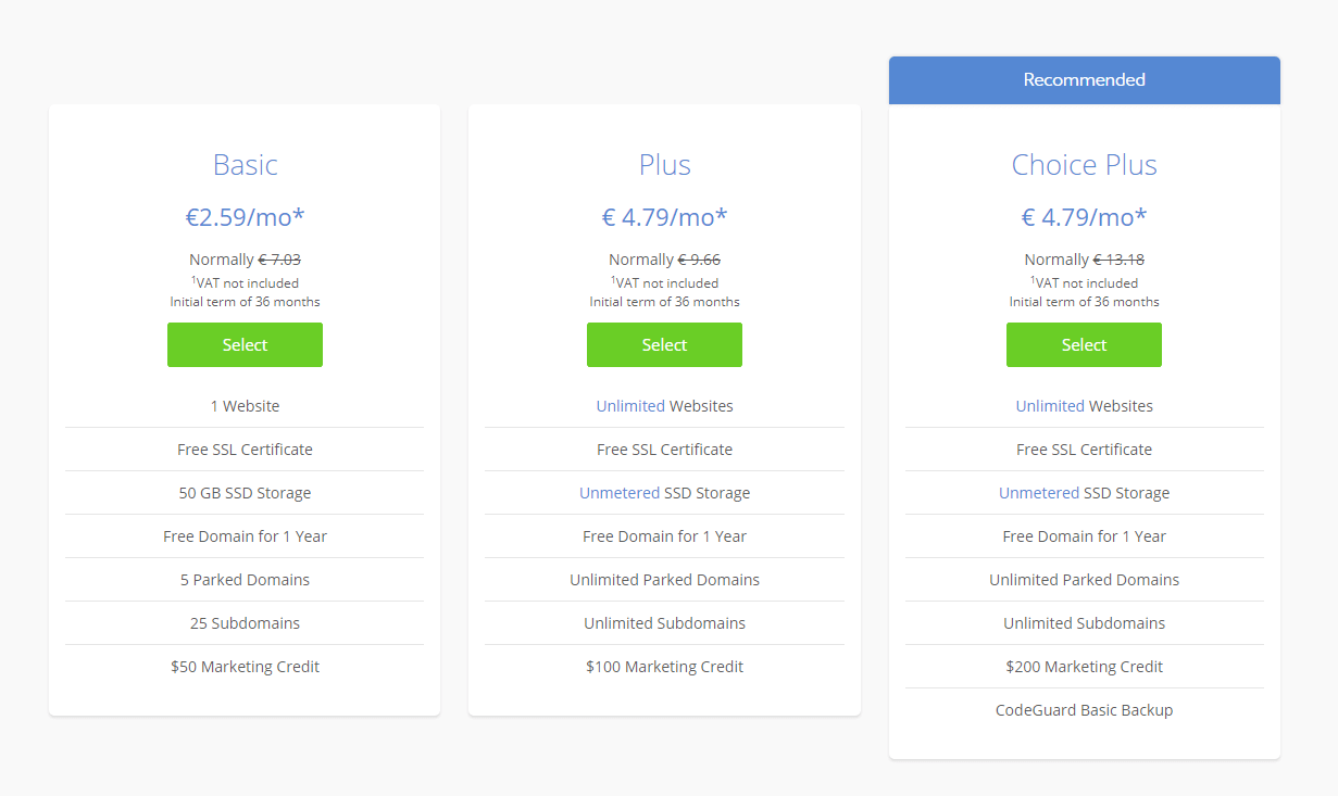 pick a Bluehost plan
