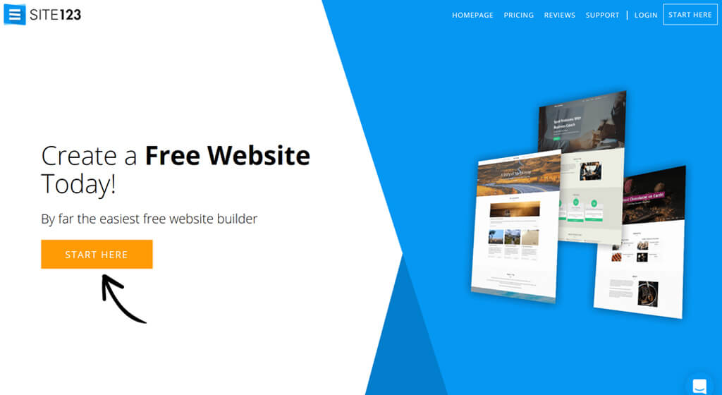 site123 Best Free Website Builder Best for help and support features