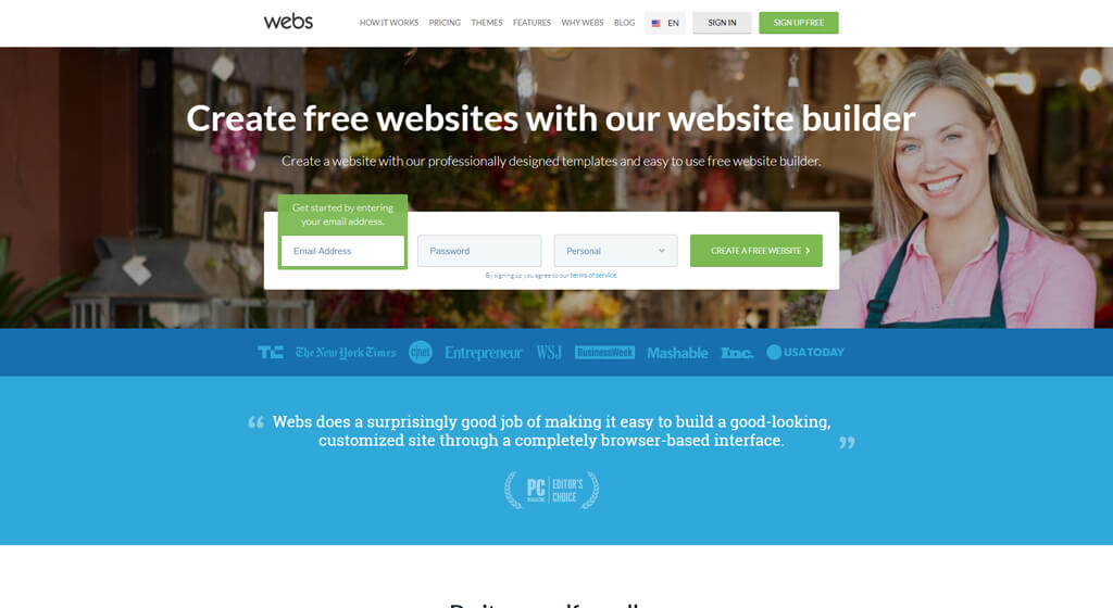 Webs Best Free Website Builder for basic first-time websites
