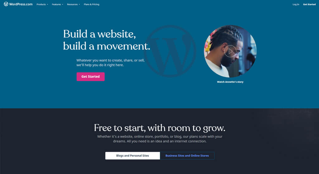 wordpress.com Best Free Website Builder Best for blogging