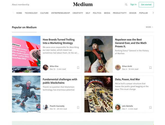 Medium is a free blogging platform set up by Twitter's founders