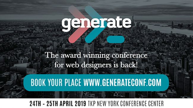 For more insight on hot trends in web design, don't miss generate New York 2019. Click on the link to book your tickets