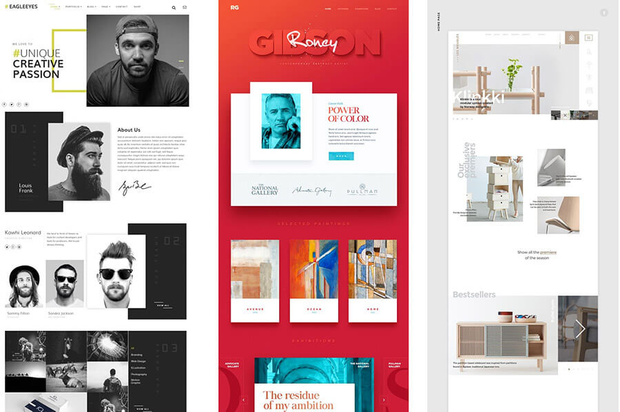 Modern web designs from Pinterest