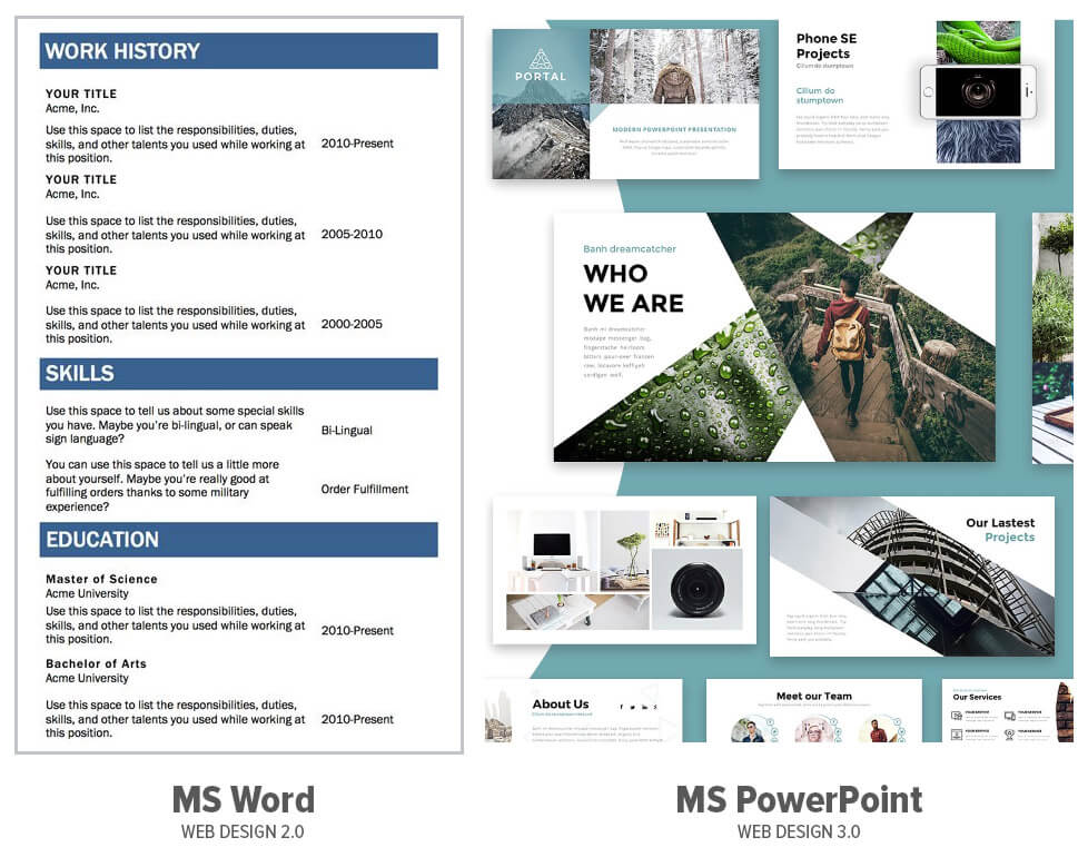 Microsoft Word and Microsoft PowerPoint