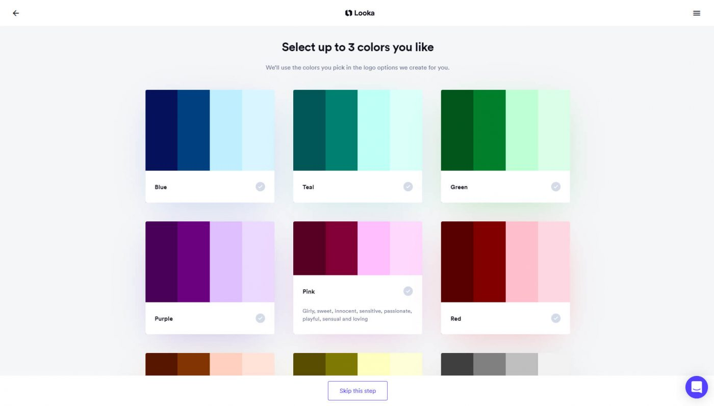 Select up to 3 colors you like