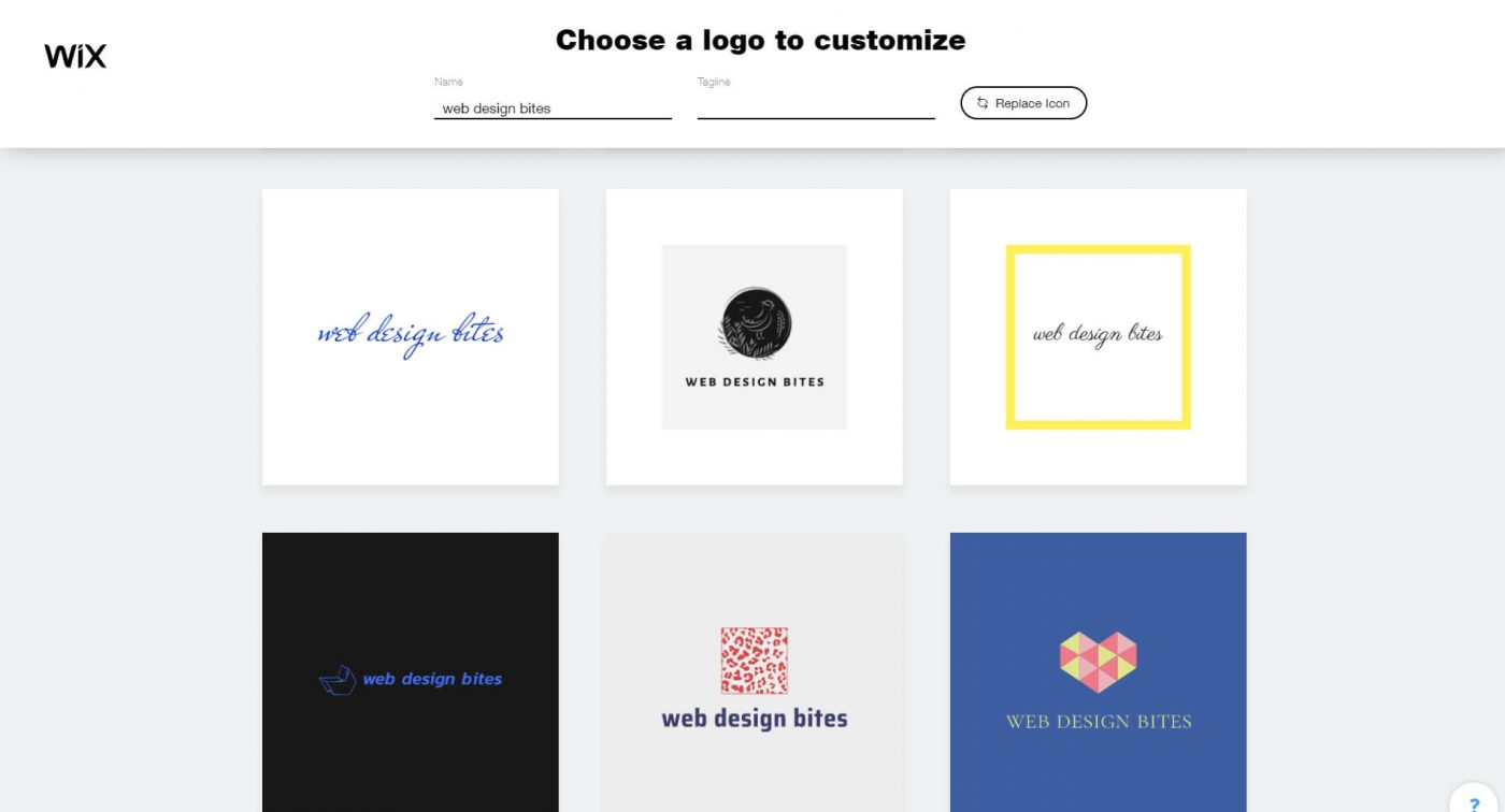 wix Choose a logo to customize