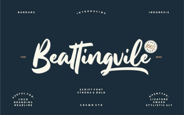 Beattingvile free font for personal and commercial use