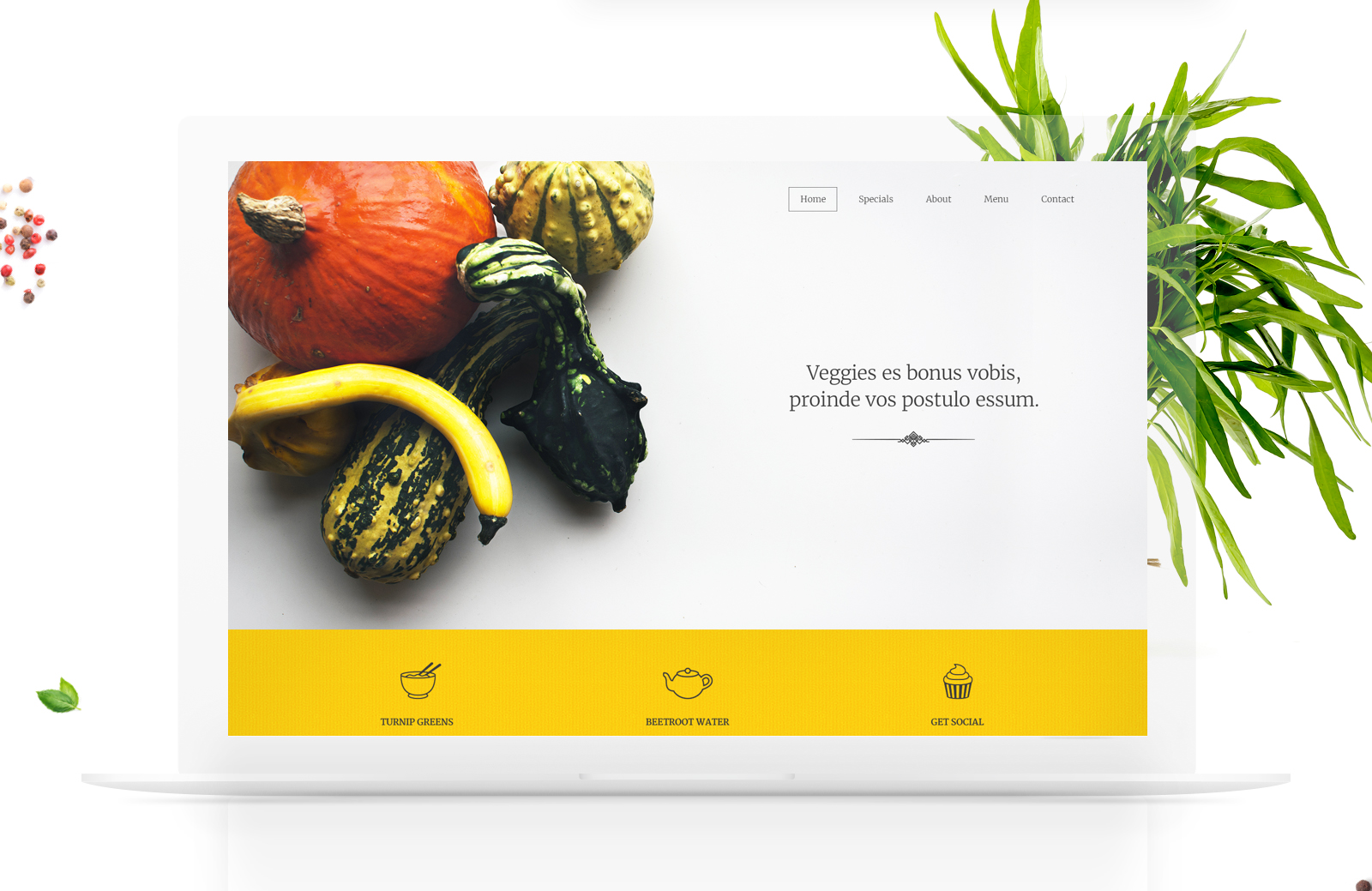 Free food website PSD and HTML template