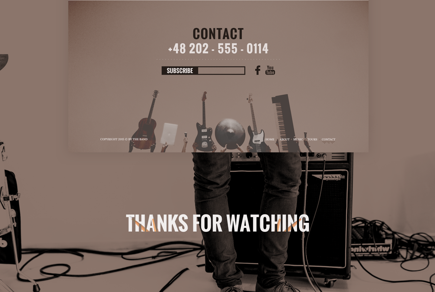 free music band website clean and simple PSD template