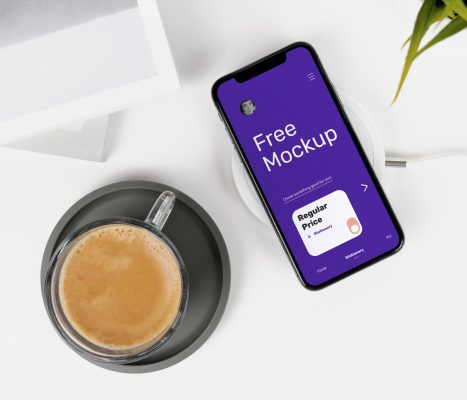 Free iPhone X on Desk Mockup