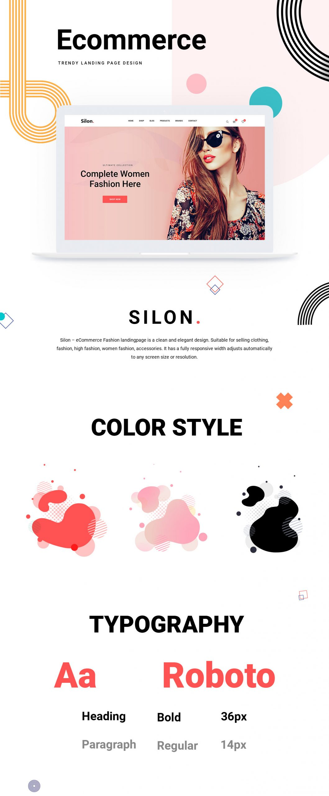 Silon – One Page E-Commerce PSD & HTML Free Template