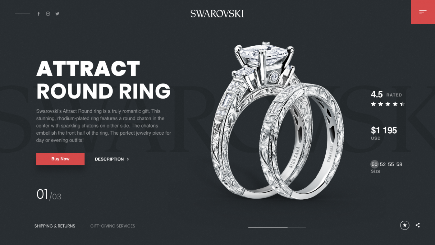Swarovski shop free adobeXD web design