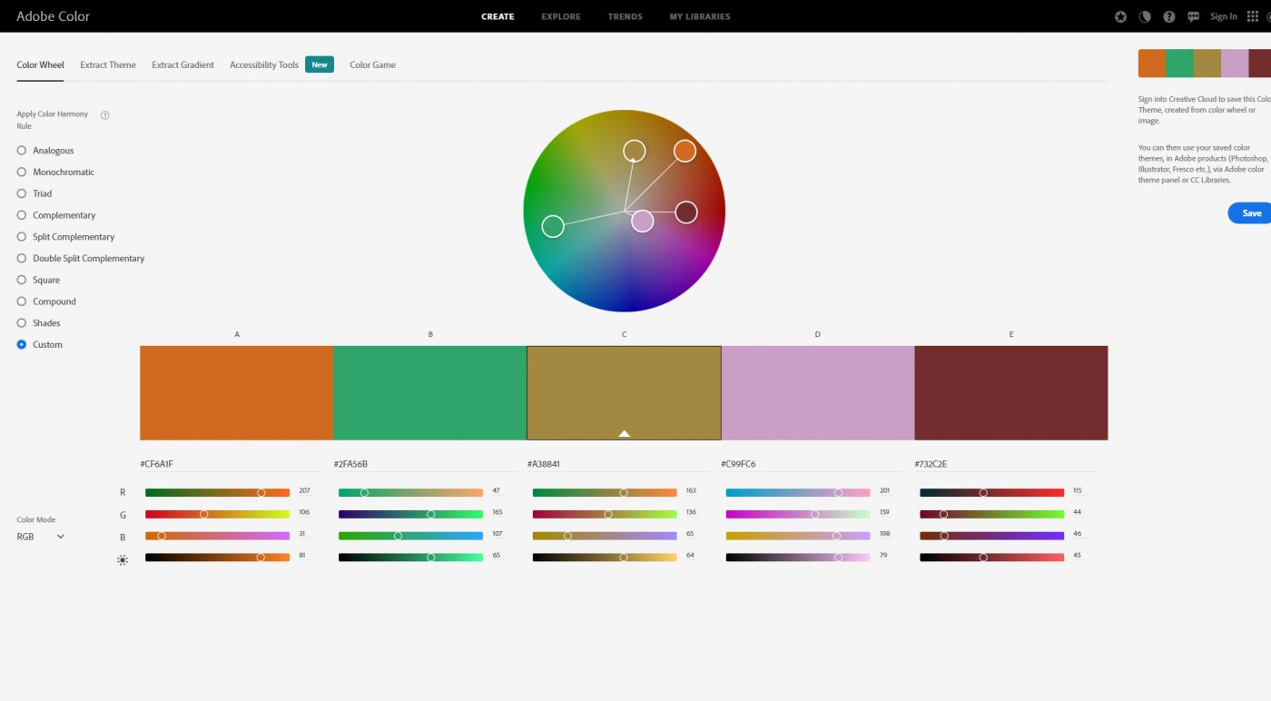 Color palette generator Adobe Color
