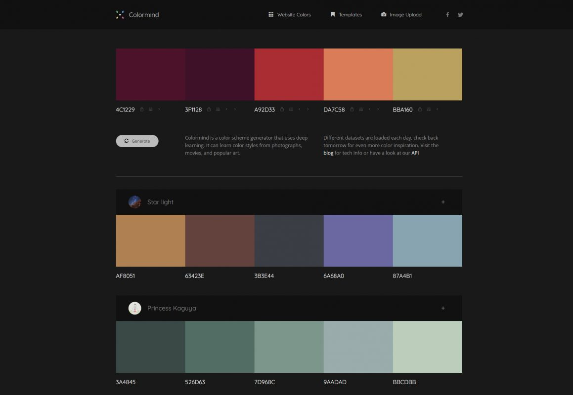 Color palette generator Colormind