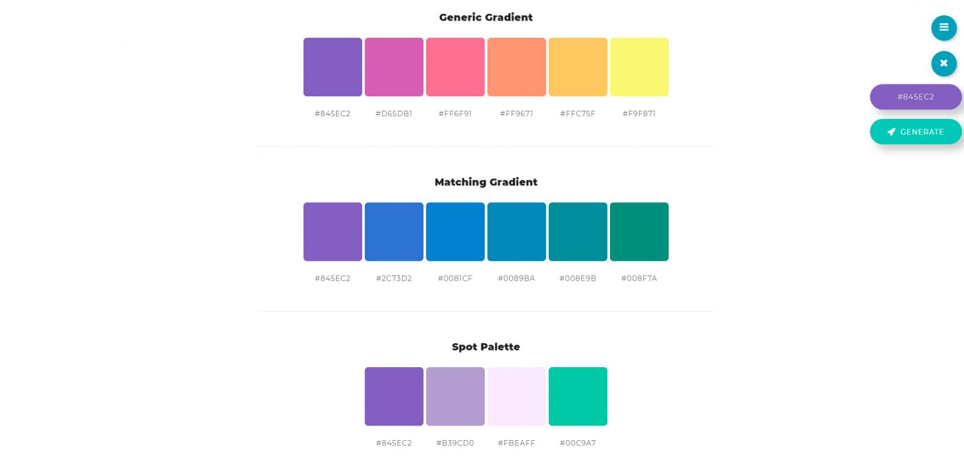 Color palette generator Color space
