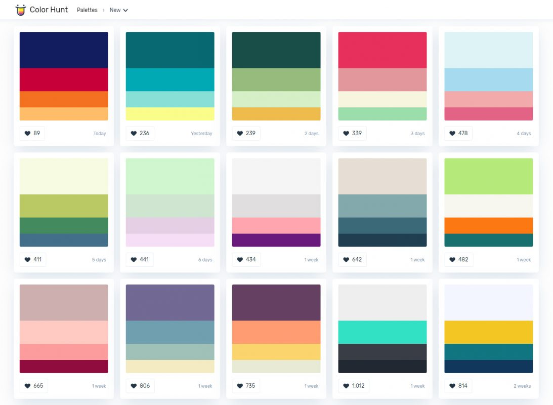 Color palette generator Colorhunt