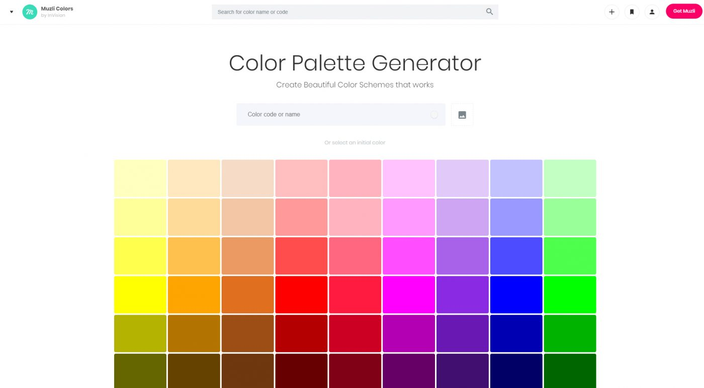 Color palette generator Muzli Colors
