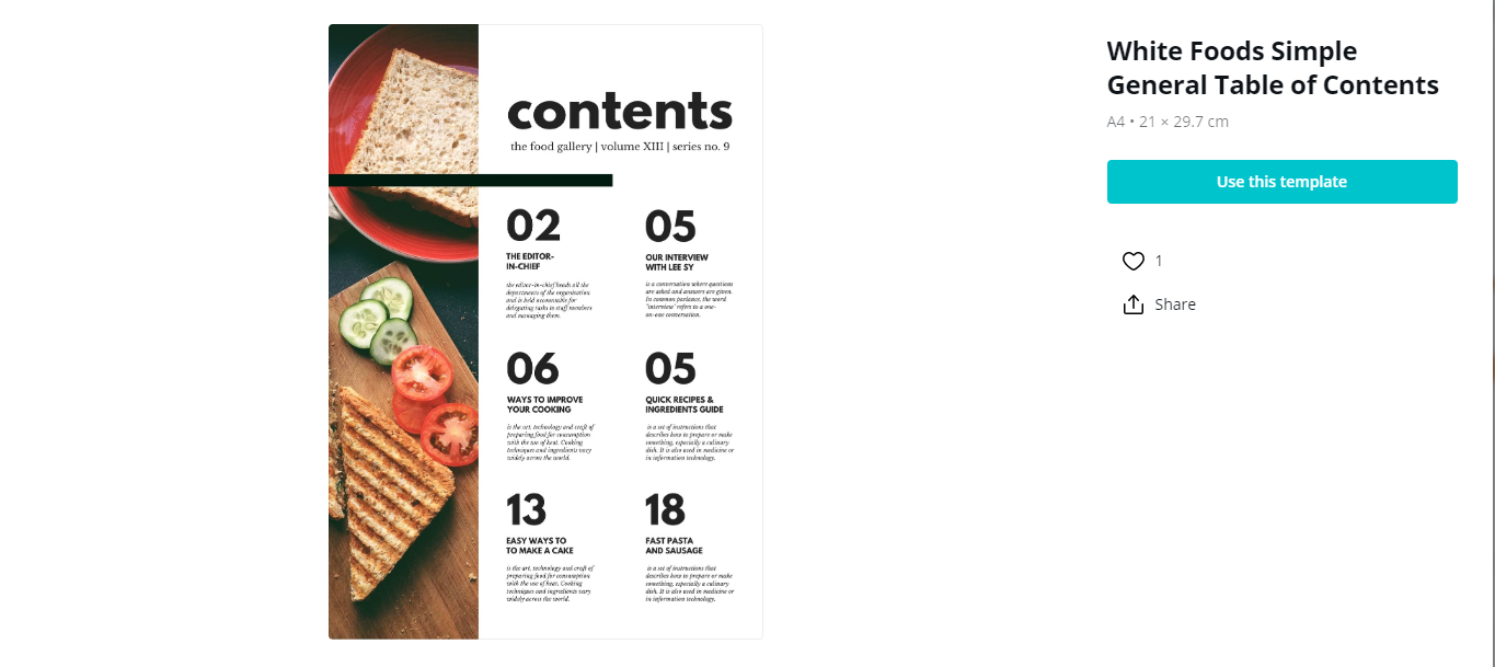 Canva Table Of Content template example