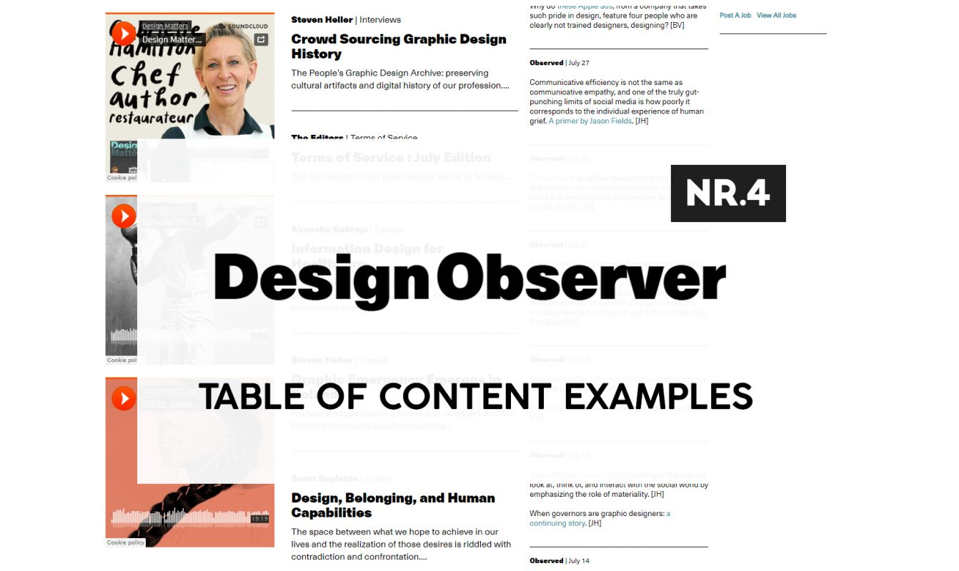 Design Observer Table Of Content examples