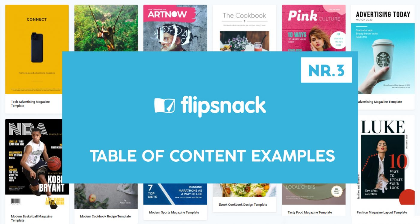 Flipsnack  Table Of Content Templates Examples