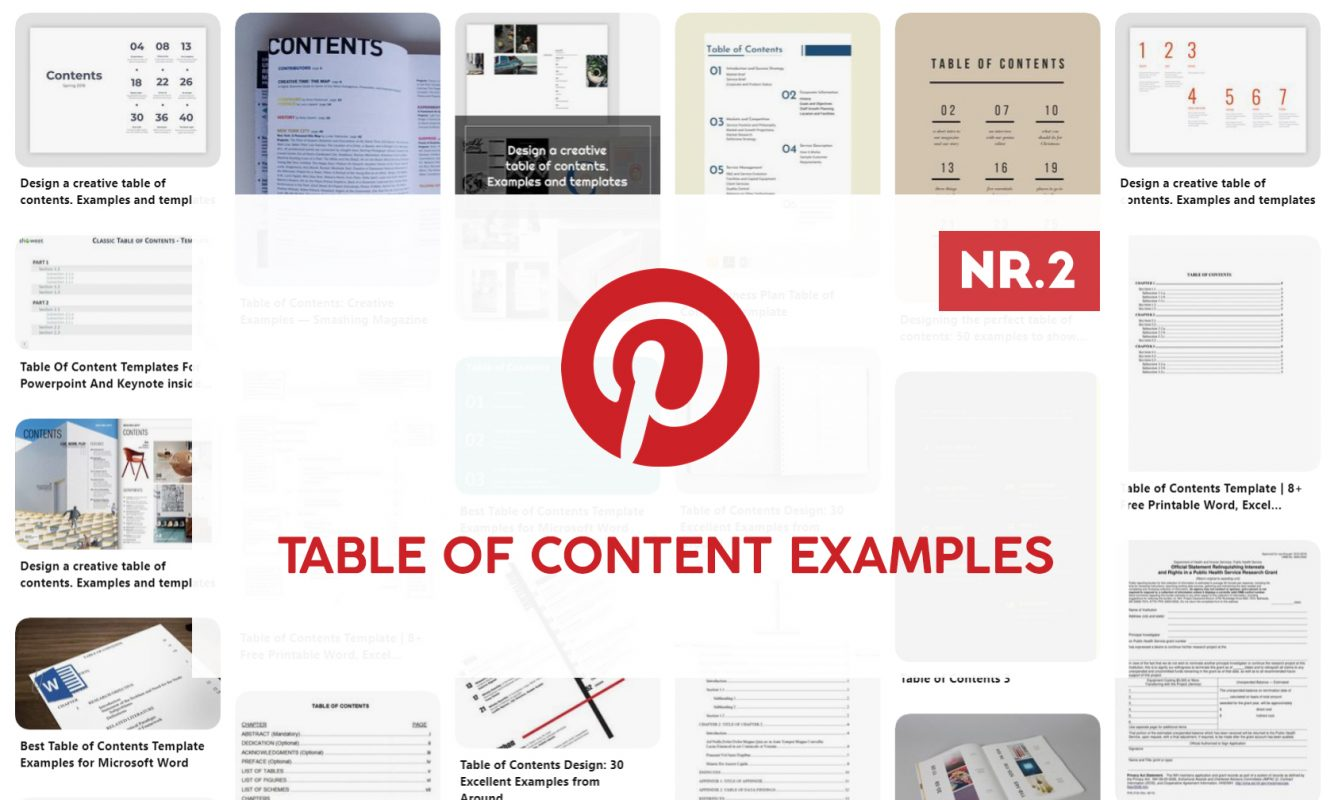 Pinterest Table Of Content examples