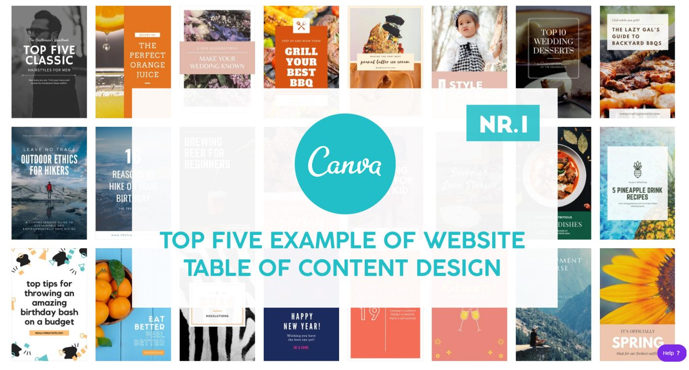 Top Five Example Of WEBSITE Table Of Content Design CANVA NR. 1