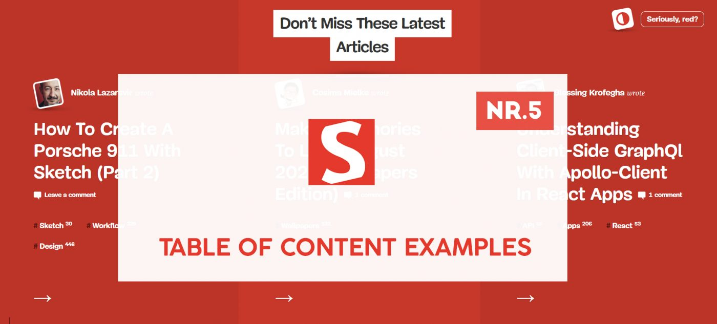 Smashing Magazine Table Of Content examples